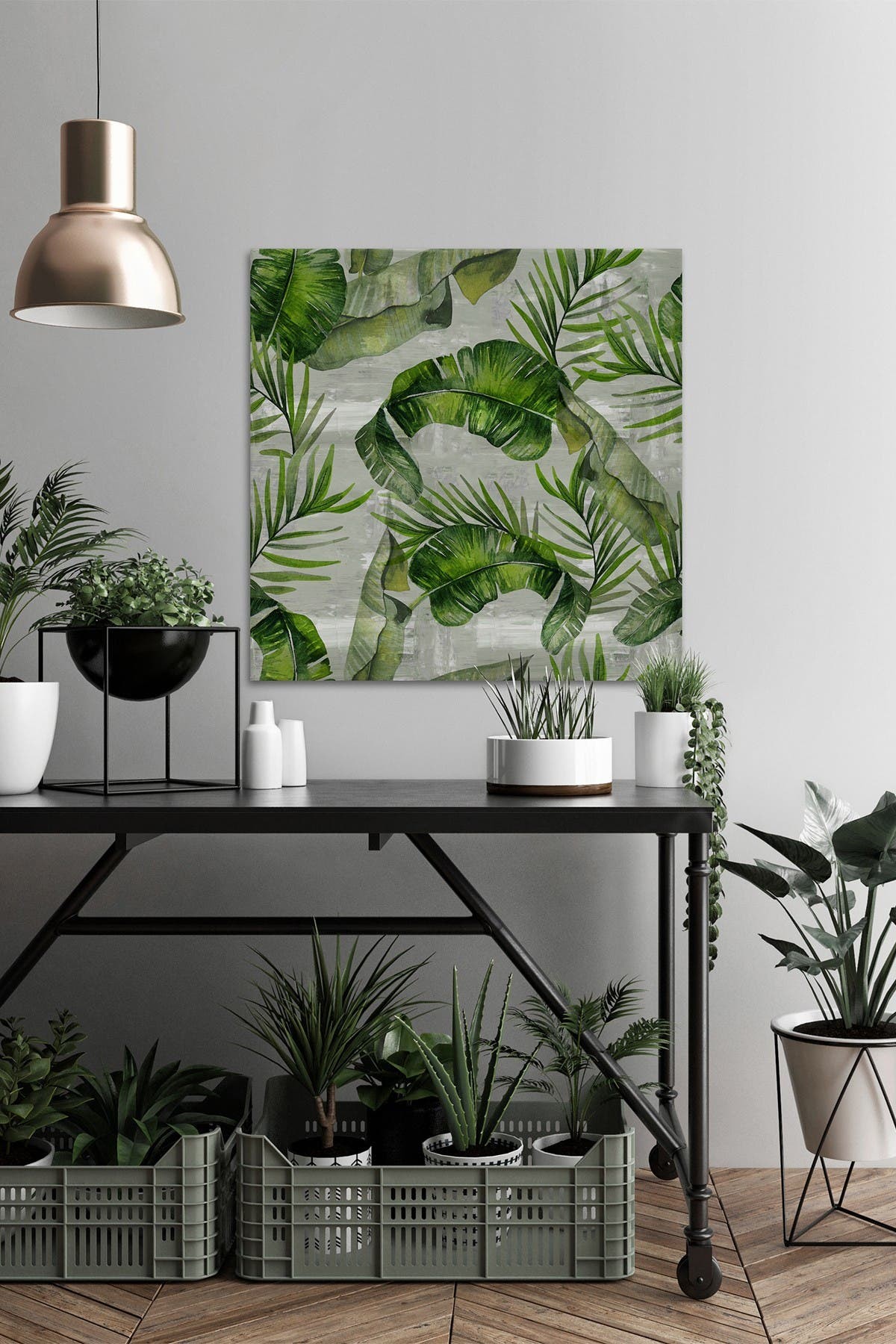 Marmont Hill Inc. Green Tropic Leaves Painting Print on Wrapped Canvas - 48\\\