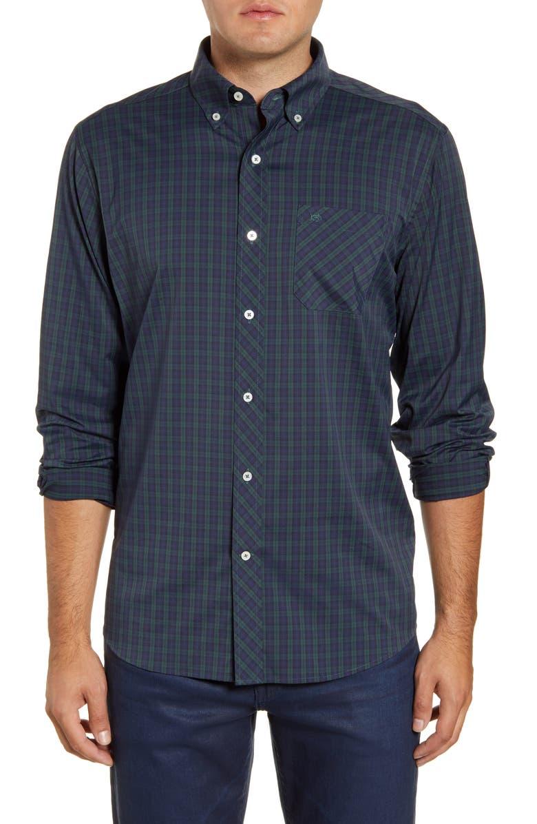 SOUTHERN TIDE Intercoastal Mistletoe Plaid Button-Down Performance Shirt, Main, color, AMAZON MOSS