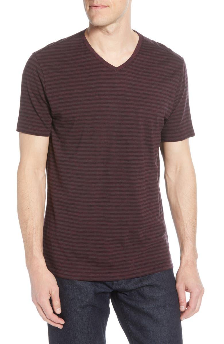ROBERT BARAKETT Kenaston V-Neck Stripe T-Shirt, Main, color, BORDEAUX