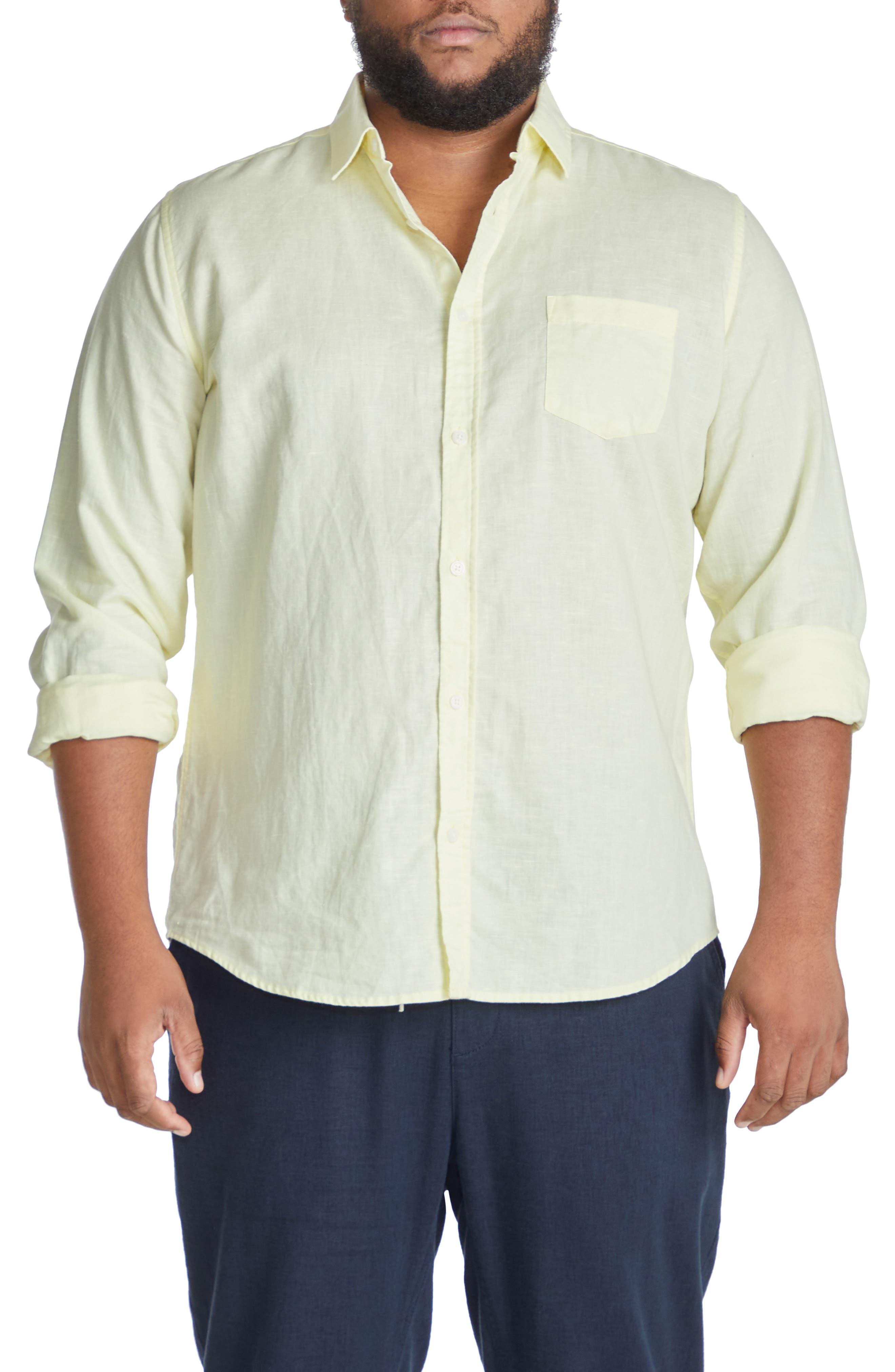 Relaxed Fit Linen Blend Button-Up Shirt