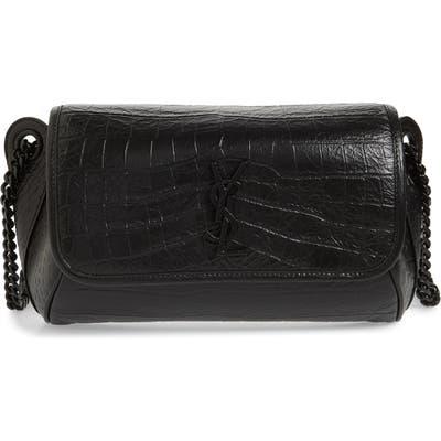 Saint Laurent Niki Croc Embossed Leather Shoulder Bag - Black