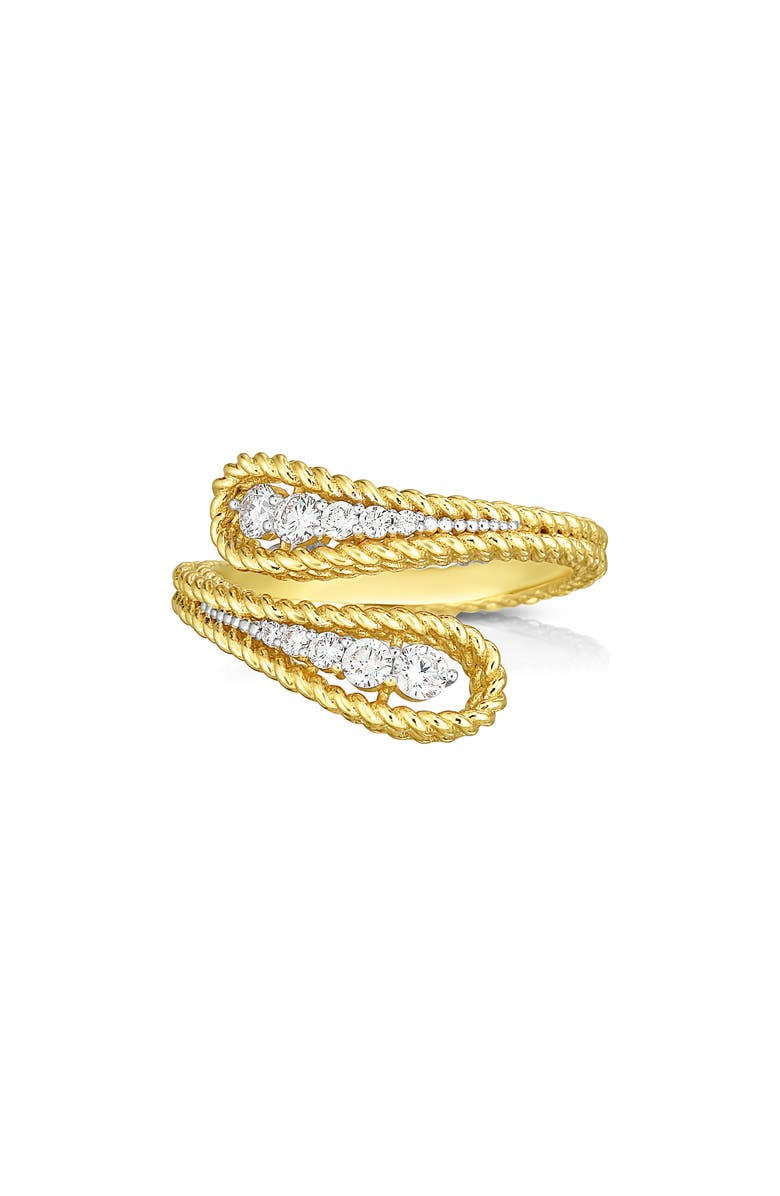 ROBERTO COIN Byzantine Barocco Diamond Bypass Ring, Main, color, YELLOW GOLD