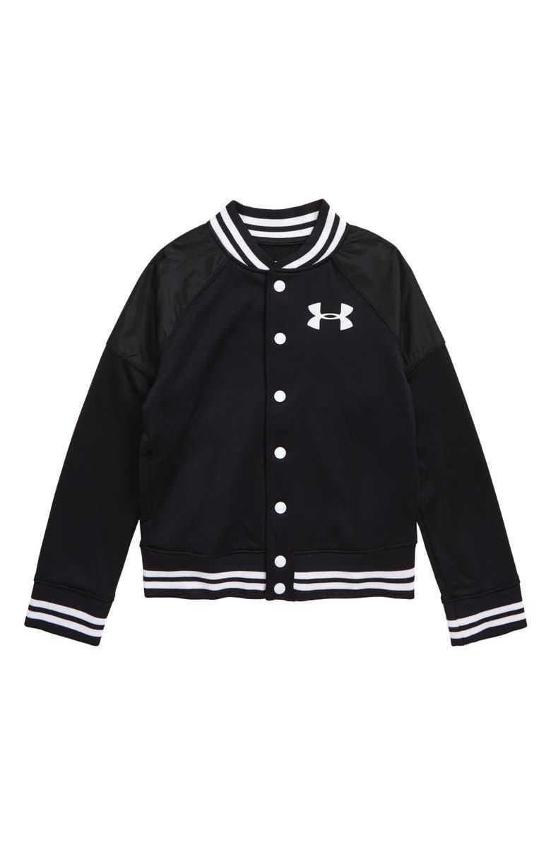 UNDER ARMOUR Fleece Bomber Jacket, Main, color, BLACK/ WHITE
