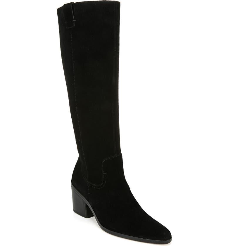 27 EDIT Bellamy Knee High Boot, Main, color, BLACK SUEDE