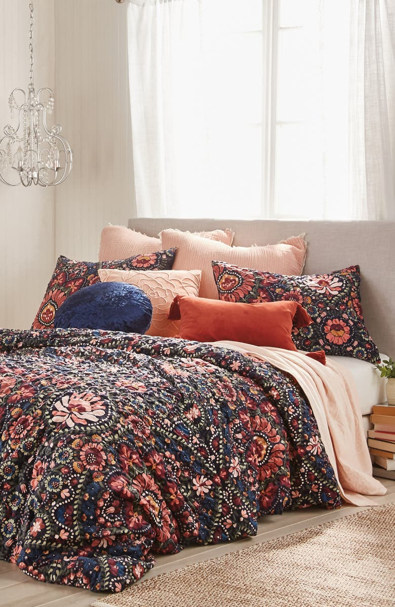 PERI HOME Floral Comforter & Sham Set, Main, color, NAVY