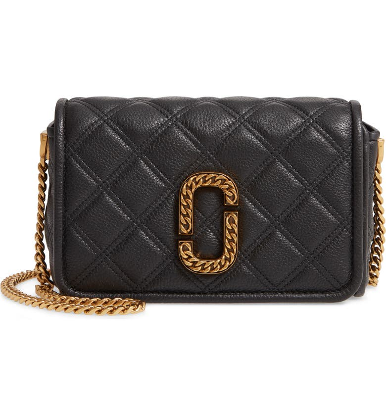 THE MARC JACOBS Quilted Leather Flap Crossbody Bag, Main, color, 001