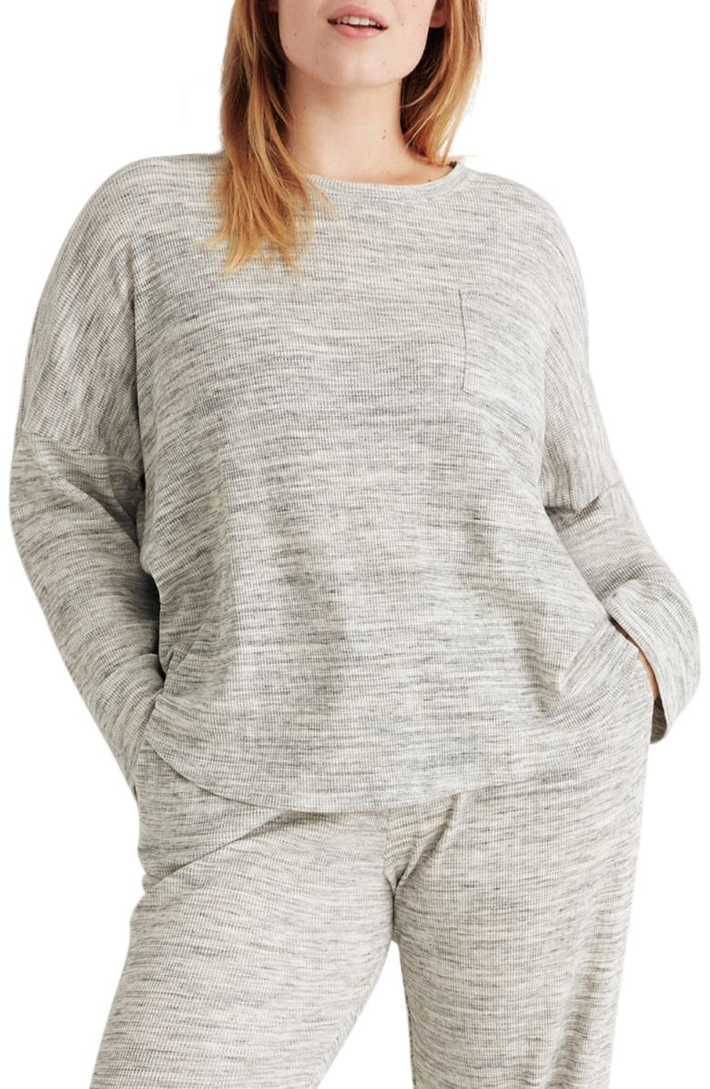 MADEWELL Waffle Knit Pajama Top, Main, color, 020