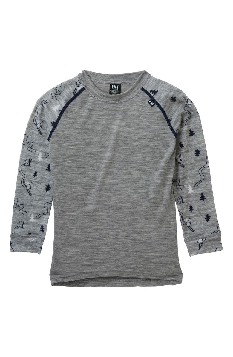 HELLY HANSEN Merino Wool T-Shirt & Pants Set, Main, color, GREY MELANGE