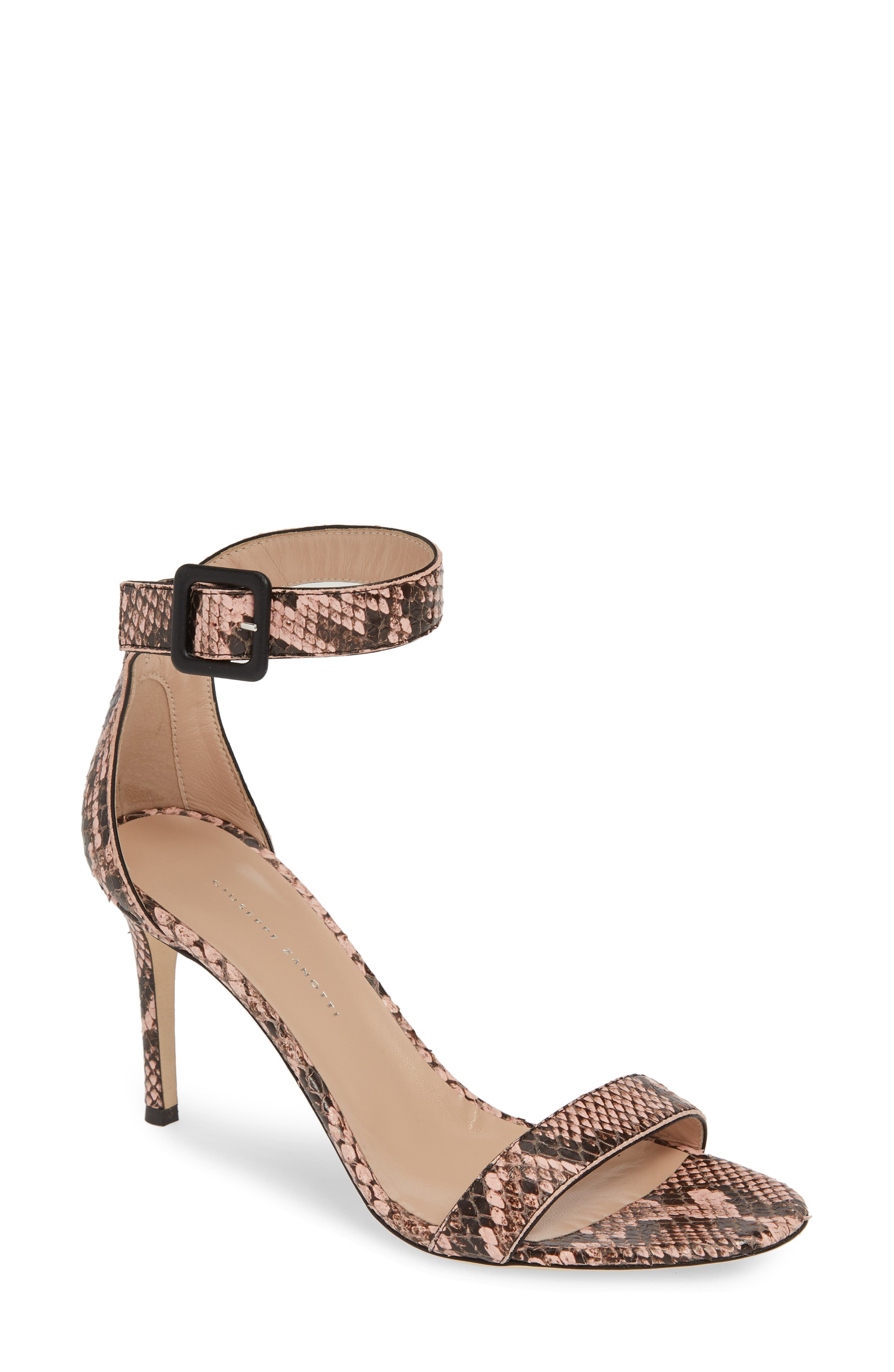 ,                             Snake Embossed Ankle Strap Sandal,                             Main thumbnail 1, color,                             PINK SNAKEPRINT