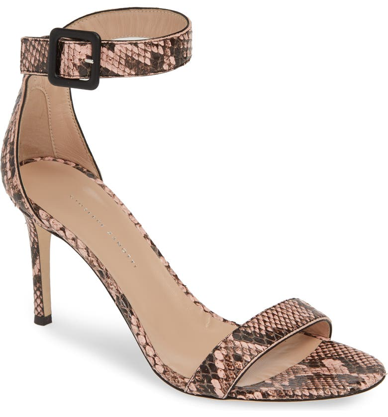 GIUSEPPE ZANOTTI Snake Embossed Ankle Strap Sandal, Main, color, PINK SNAKEPRINT