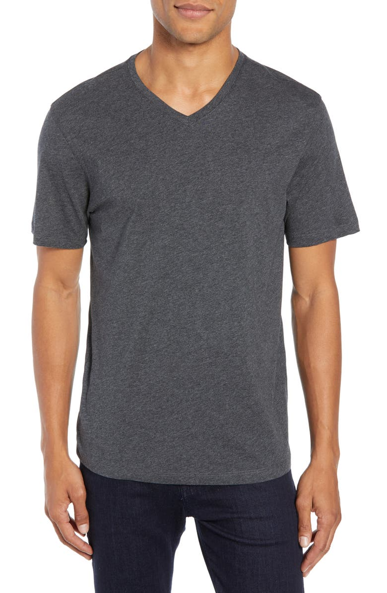 ZACHARY PRELL Mercer Regular Fit V-Neck T-Shirt, Main, color, DARK HEATHER CHARCOAL