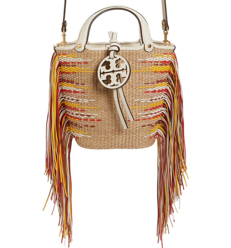 TORY BURCH Mini Miller Fringe Woven Twill Bucket Bag, Main, color, NATURAL / NEW IVORY