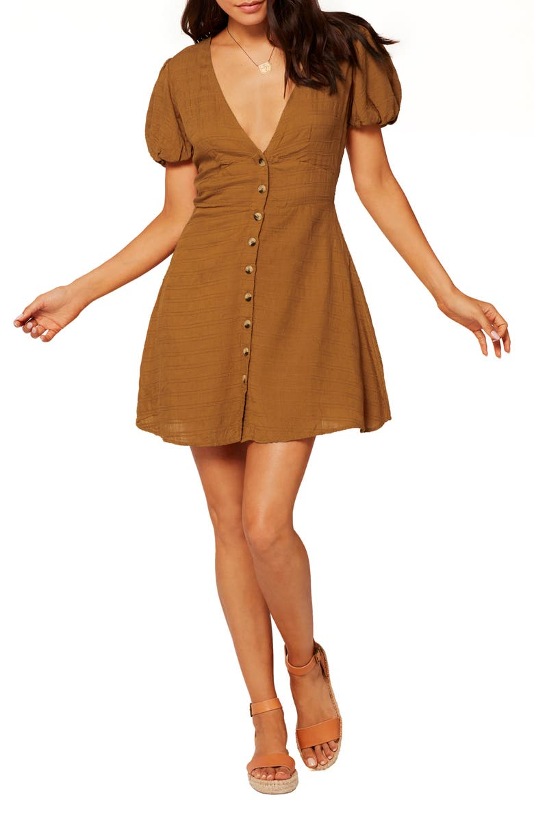 L SPACE Sabrina Puff Sleeve Cover-Up Minidress, Main, color, HAZELNUT