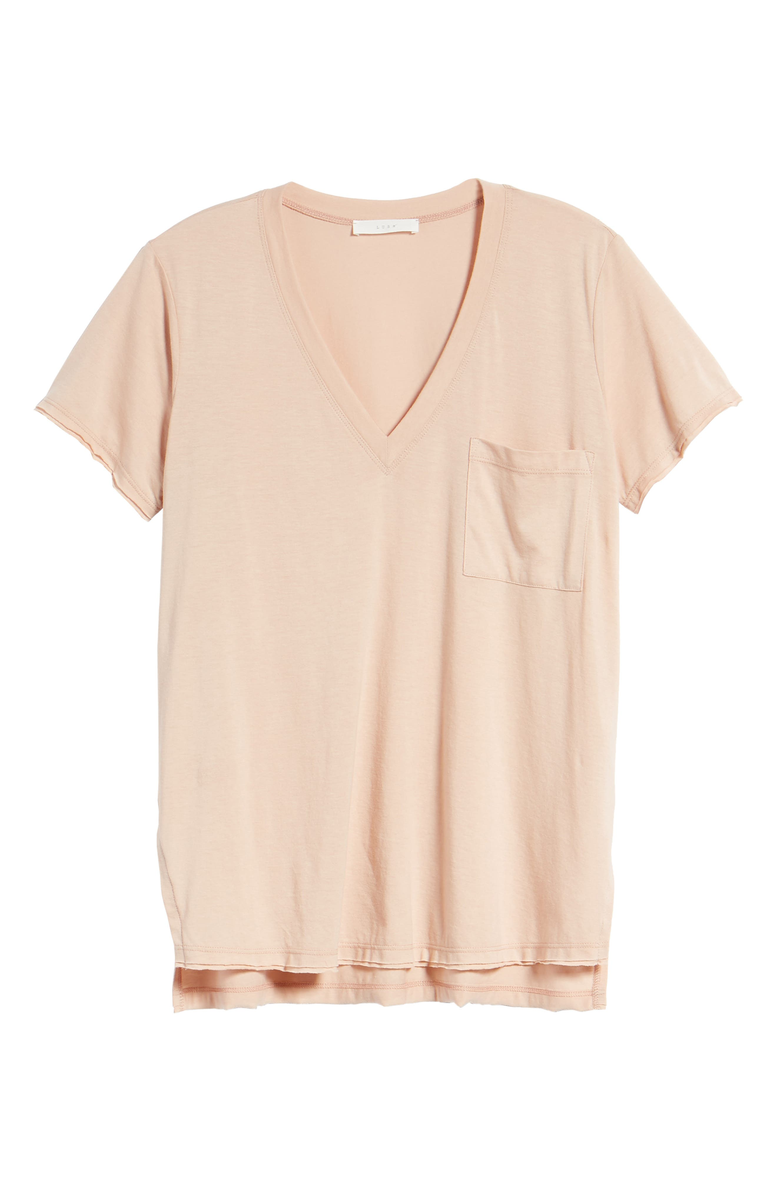 ,                             Raw Edge Side Slit Tee,                             Alternate thumbnail 12, color,                             650