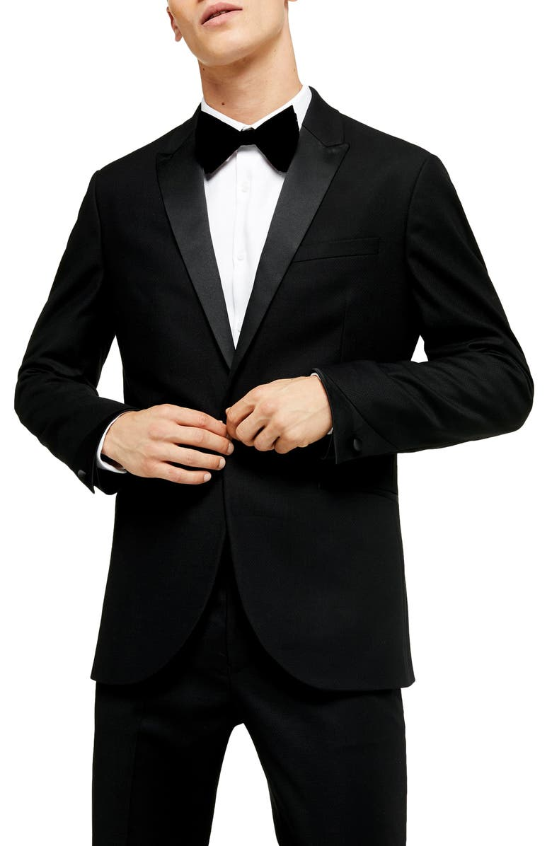 TOPMAN Corey Slim Fit Tuxedo Jacket, Main, color, 001