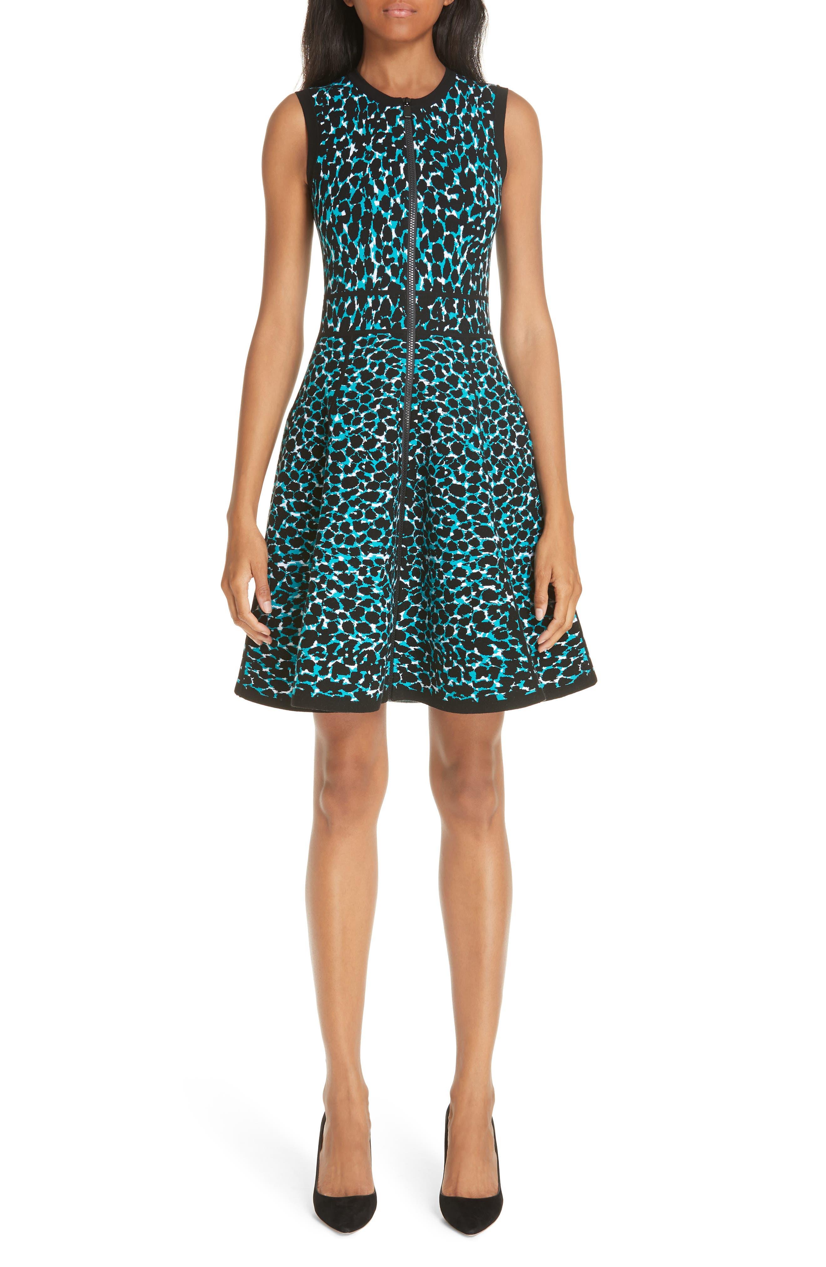 ,                             Leopard Print Zip Front Fit & Flare Dress,                             Main thumbnail 1, color,                             TURQUOISE W/ BLACK