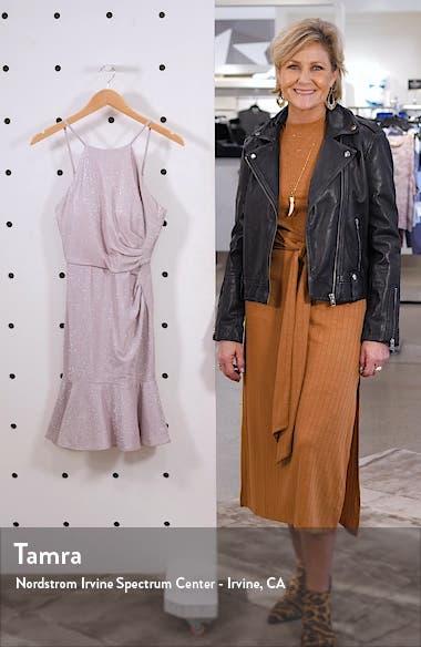 Ruched Metallic Flounce Dress, sales video thumbnail