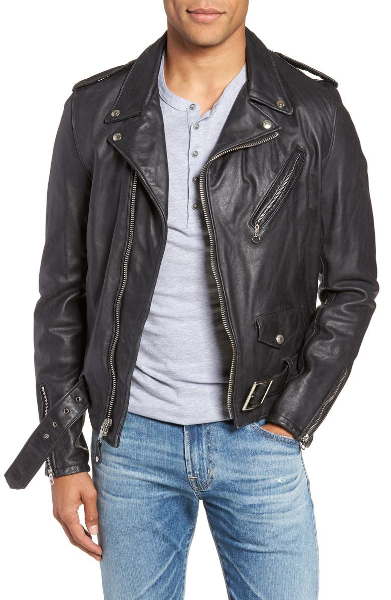 SCHOTT NYC Hand Vintaged Cowhide Leather Motorcycle Jacket, Main, color, BLACK
