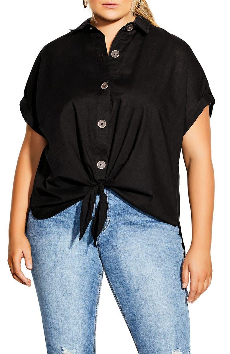 CITY CHIC Explore Shirt, Main, color, BLACK