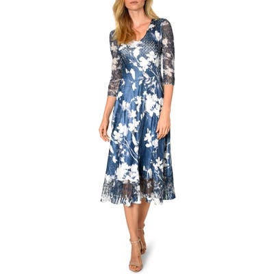 Petite Komarov Charmeuse & Chiffon A-Line Dress, Blue