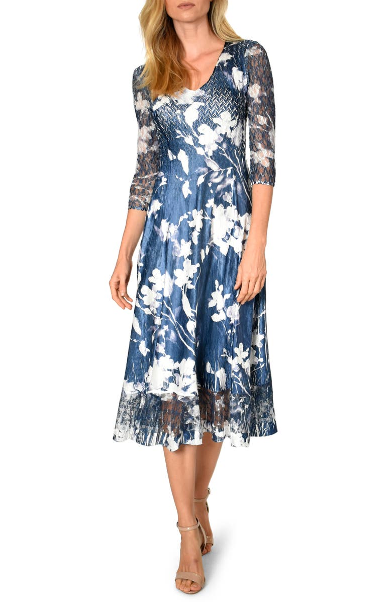 KOMAROV Charmeuse & Chiffon A-Line Dress, Main, color, MIDNIGHT VINE