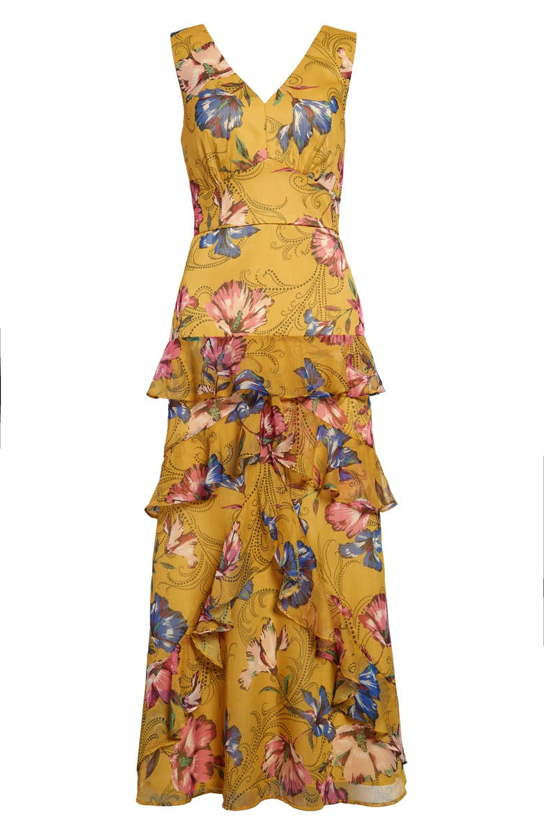 CHELSEA28 Floral Tiered Maxi Dress, Main, color, YELLOW LARGE FLORAL