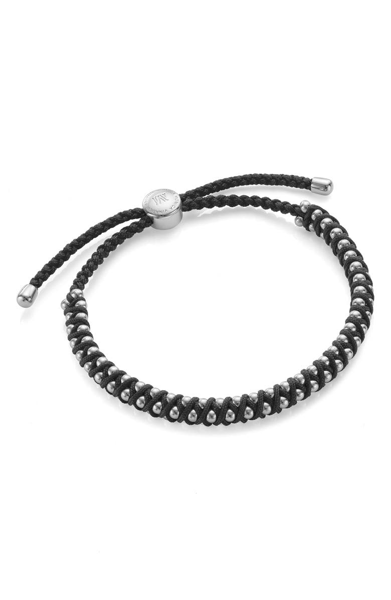 MONICA VINADER Rio Friendship Bracelet, Main, color, SILVER/ BLACK