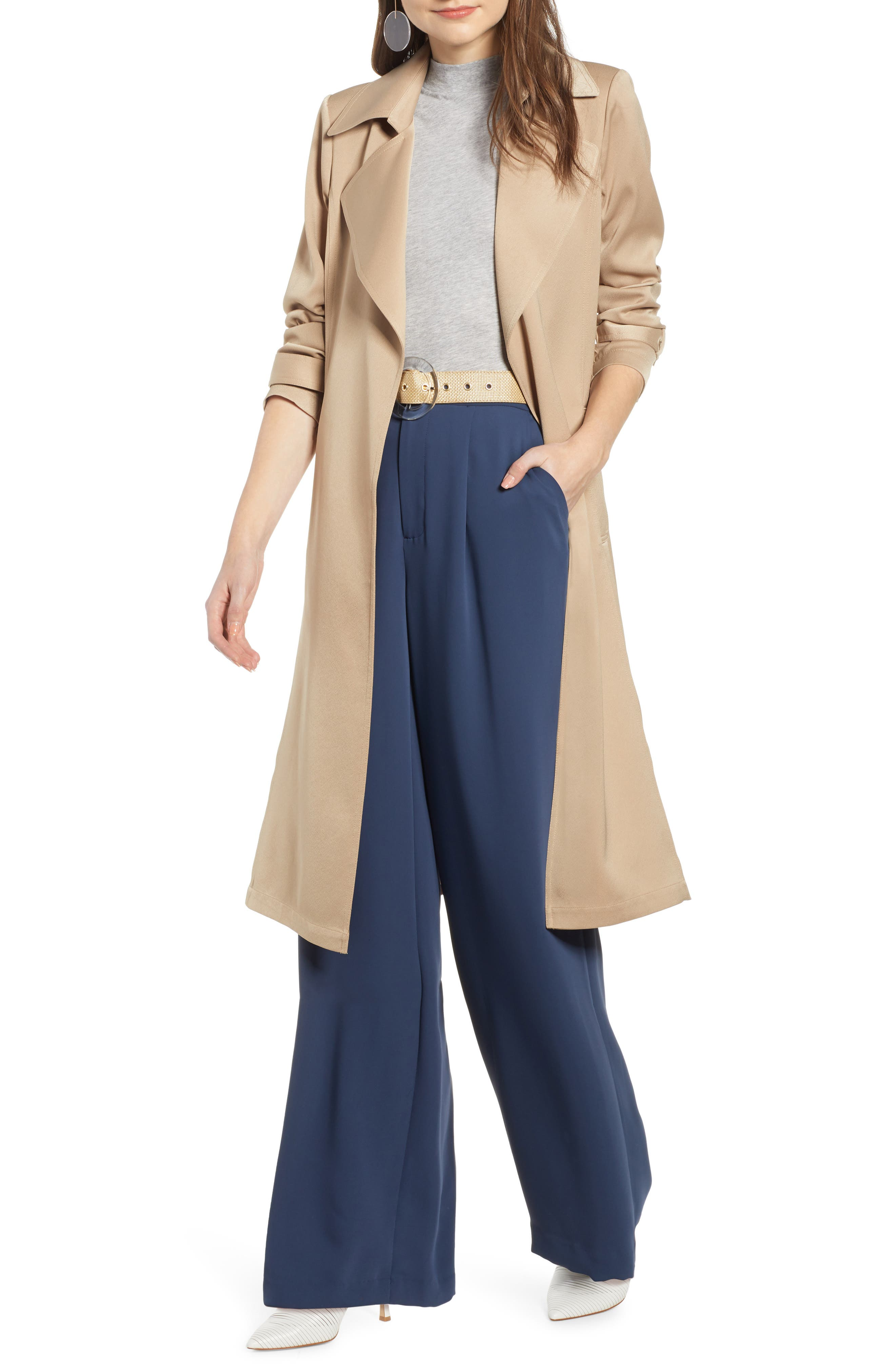 Something Navy Pleat Back Trench Coat, Brown (Nordstrom Exclusive)