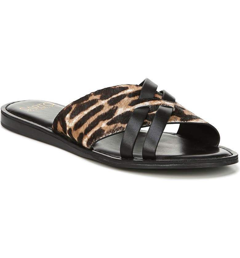 FRANCO SARTO Logan Slide Sandal, Main, color, BROWN CALF HAIR