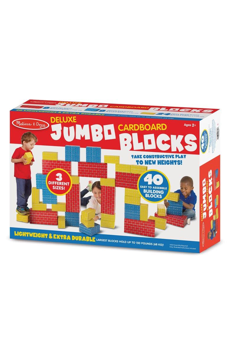 MELISSA & DOUG 40-Piece Deluxe Jumbo Cardboard Blocks, Main, color, MULTI