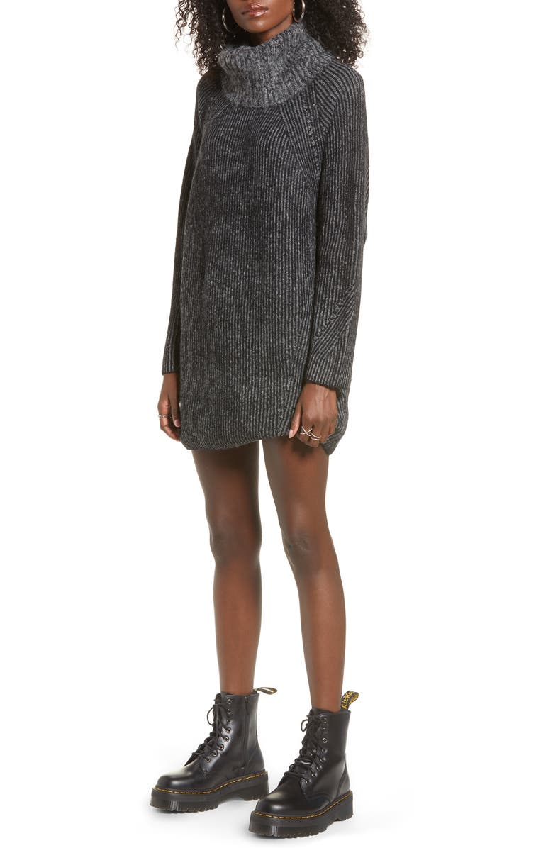 TOPSHOP Turtleneck Sweater Dress, Main, color, BLACK