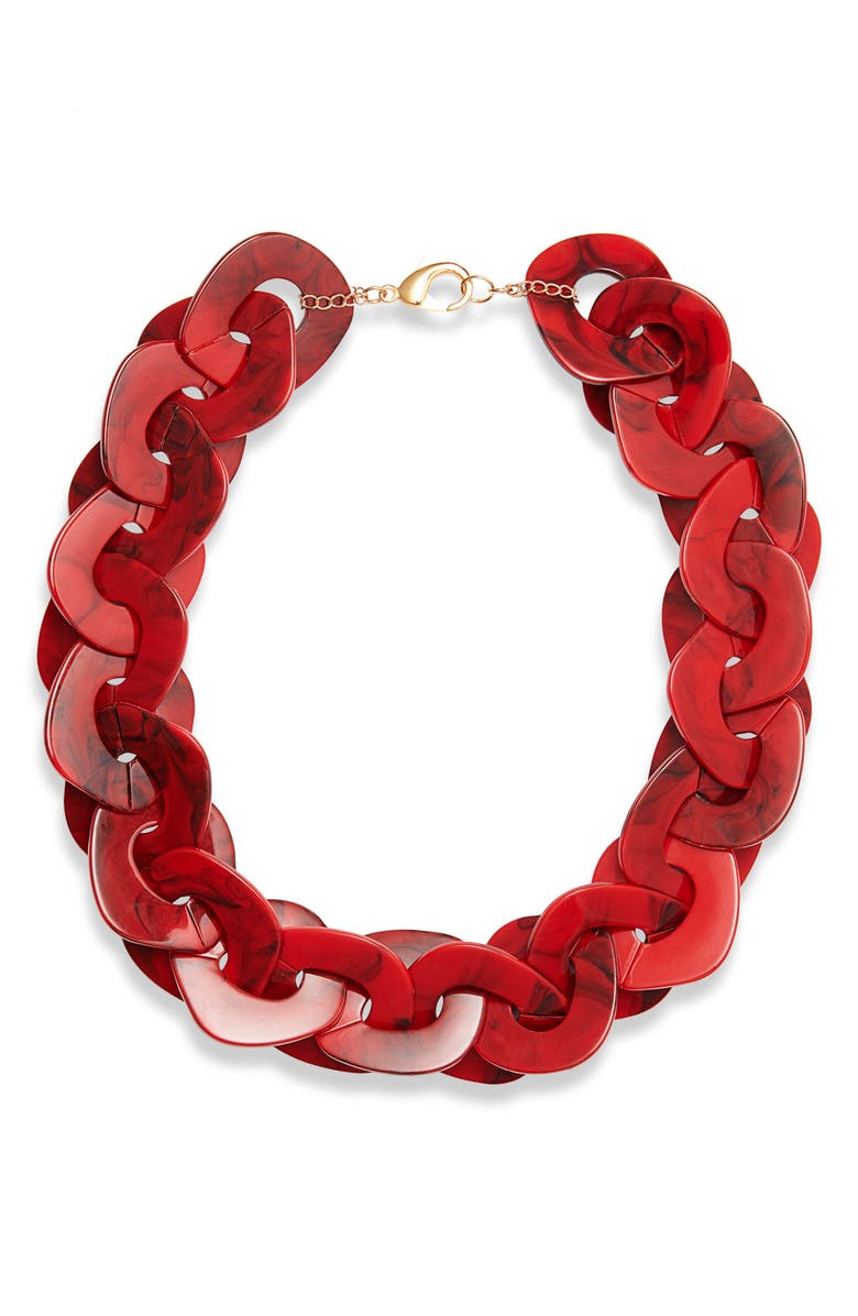 KNOTTY Disc Collar Necklace, Main, color, RASPBERRY