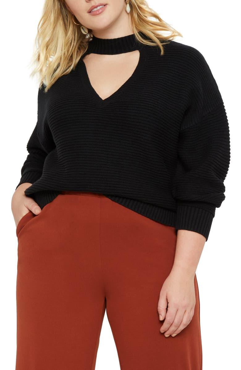 ELOQUII Cutout Cotton Blend Sweater, Main, color, 001
