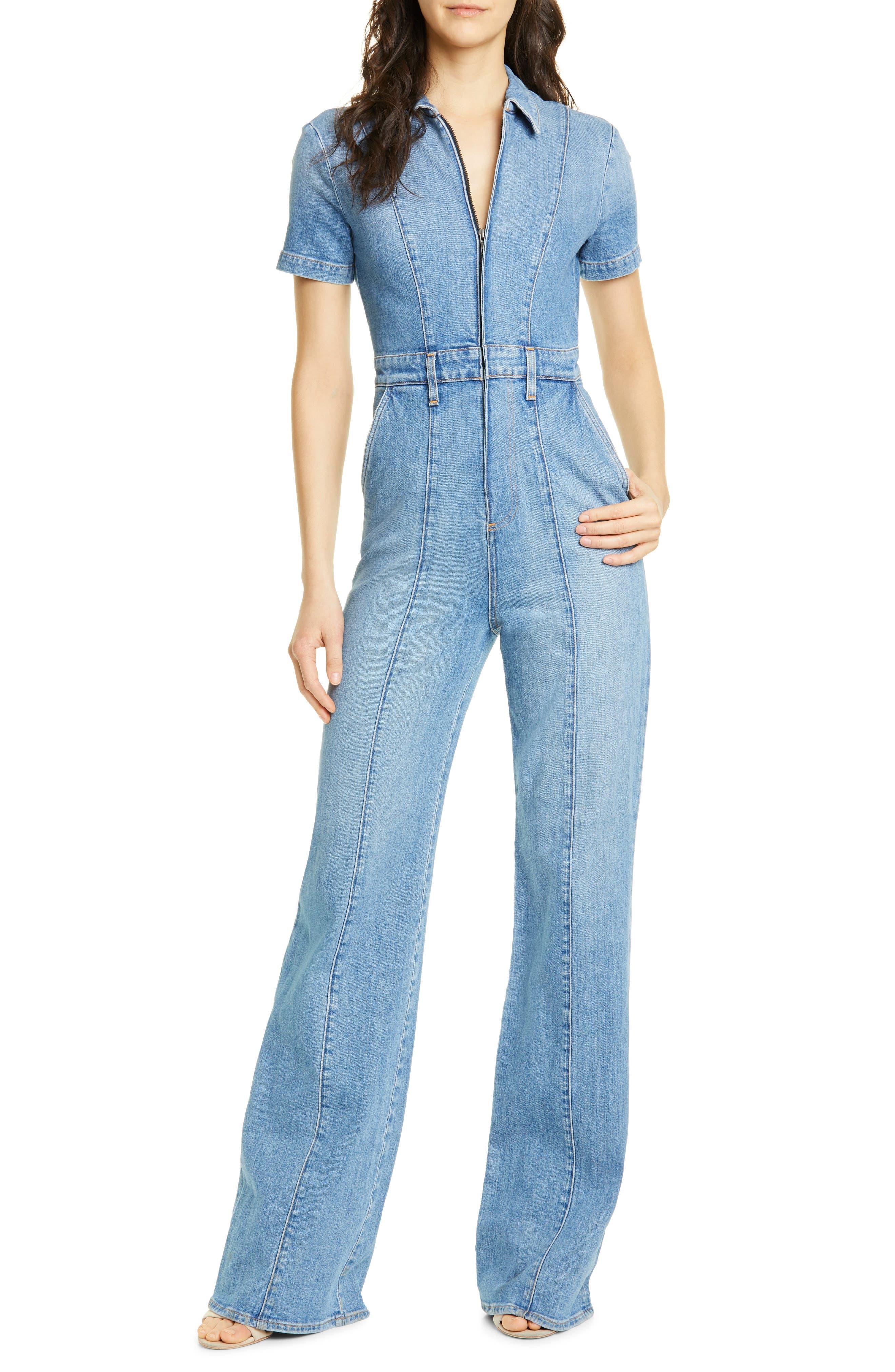 70s Jumpsuit   Disco Jumpsuits – Sequin, Striped, Gold, White, Black Womens Alice  Olivia Jeans Wide Leg Denim Jumpsuit $296.98 AT vintagedancer.com
