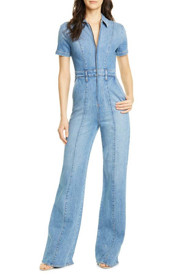 Alice And Olivia Alice + Olivia Gorgeous Wide-Leg Denim Jumpsuit In Love Me