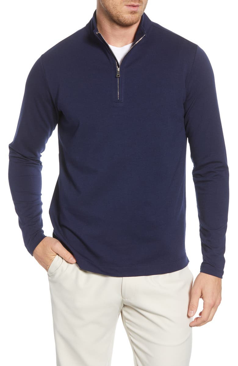 PETER MILLAR Ace Quarter Zip Stretch Pullover, Main, color, NAVY