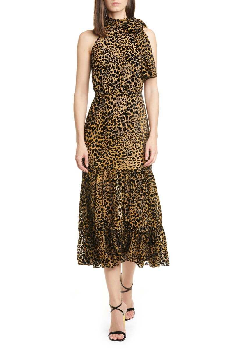 RIXO Eleanor Leopard Burnout Midi Dress, Main, color, LEOPARD BURNOUT