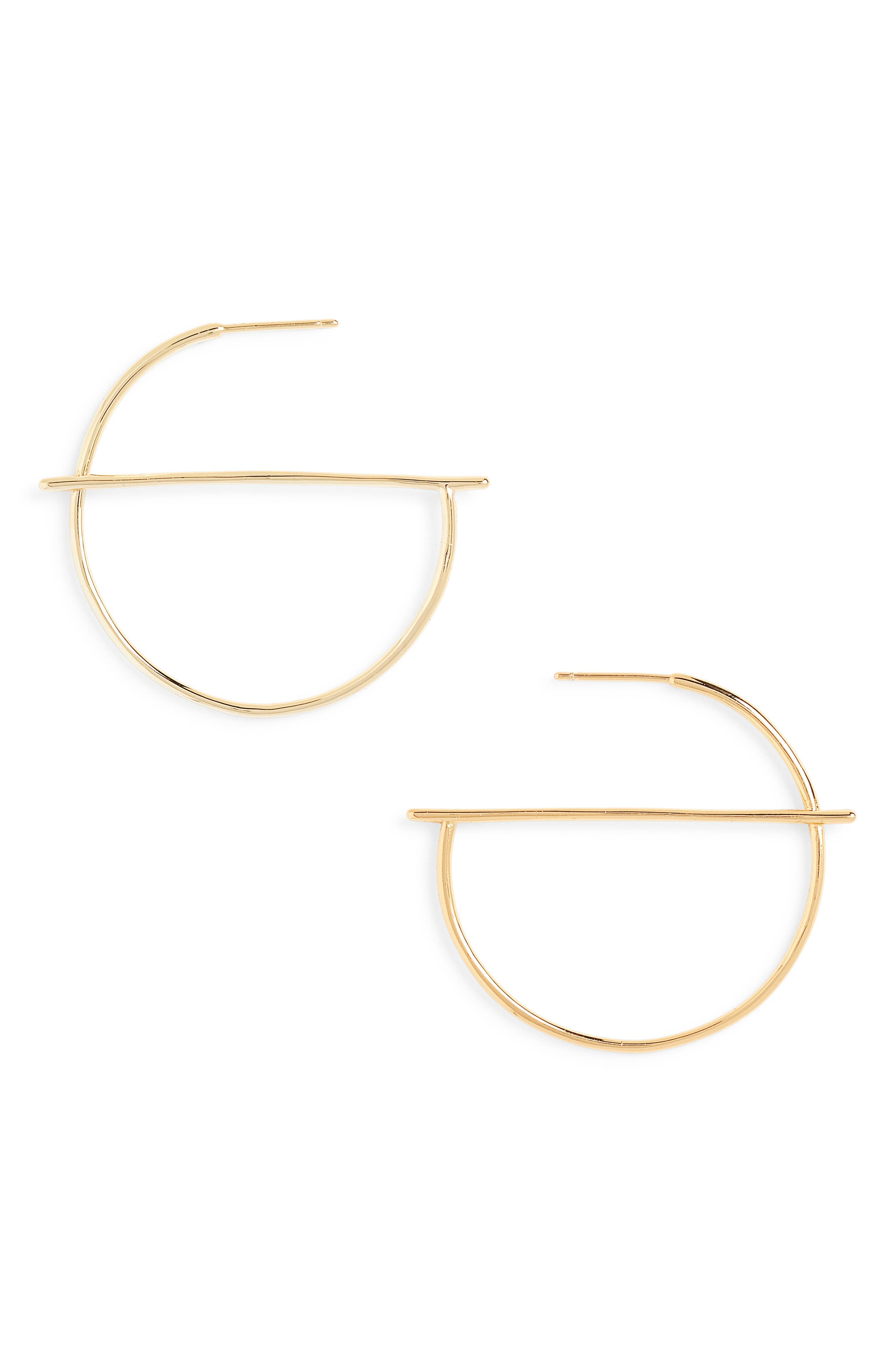 These svelte hoop earrings will lend geometric shine to any look. Style Name: Sterling Forever Half Geometric Hoop Earrings. Style Number: 5763966. Available in stores.
