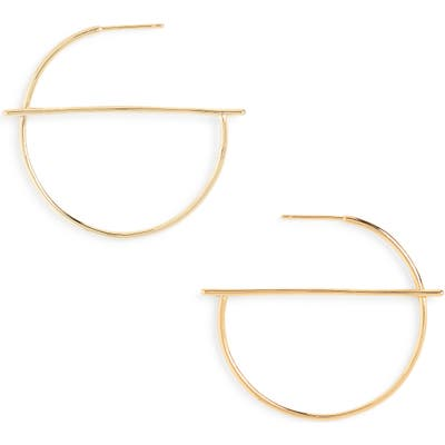 Sterling Forever Half Geometric Hoop Earrings