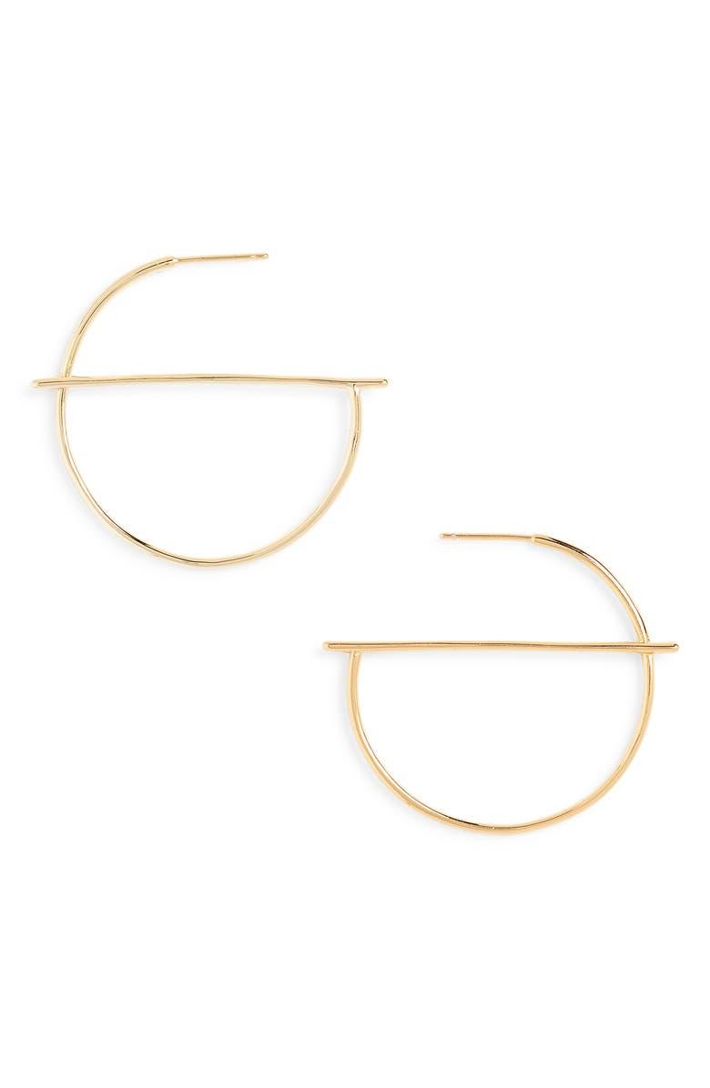 STERLING FOREVER Half Geometric Hoop Earrings, Main, color, 710