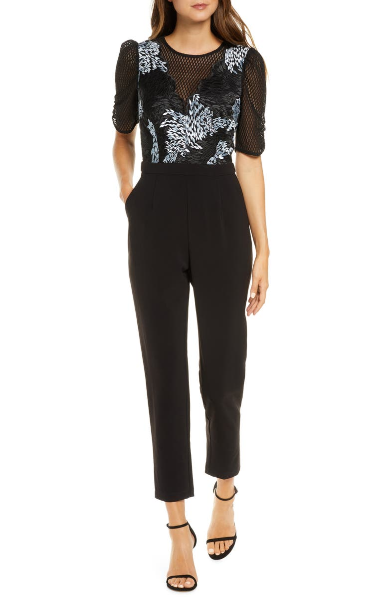 ADELYN RAE Alexandria Embroidered Mesh Jumpsuit, Main, color, BLACK/ LIGHT BLUE