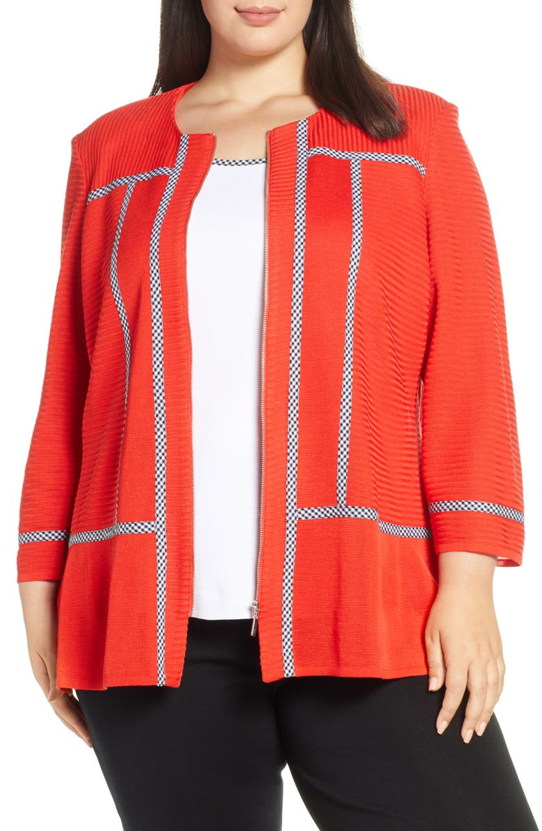 MING WANG Gingham Trim Knit Jacket, Main, color, POPPY/ BLACK/ WHITE