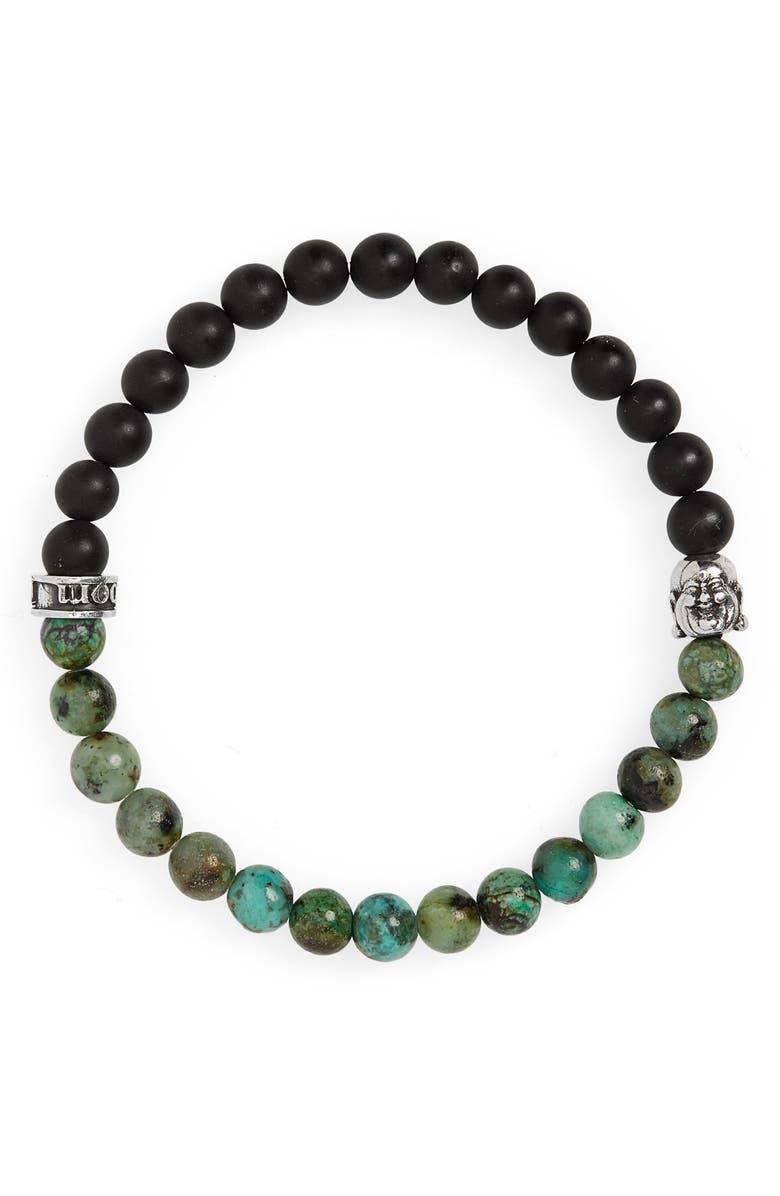 ROOM101 Agate & Jasper Bead Bracelet, Main, color, GREEN/ BLACK