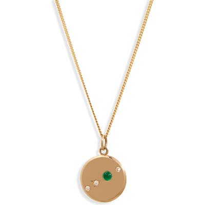 Wwake The Monolith Small Emerald & Diamond Medallion Necklace
