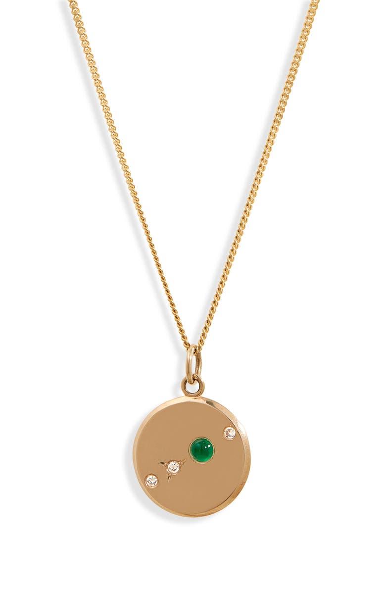 WWAKE The Monolith Small Emerald & Diamond Medallion Necklace, Main, color, YELLOW GOLD