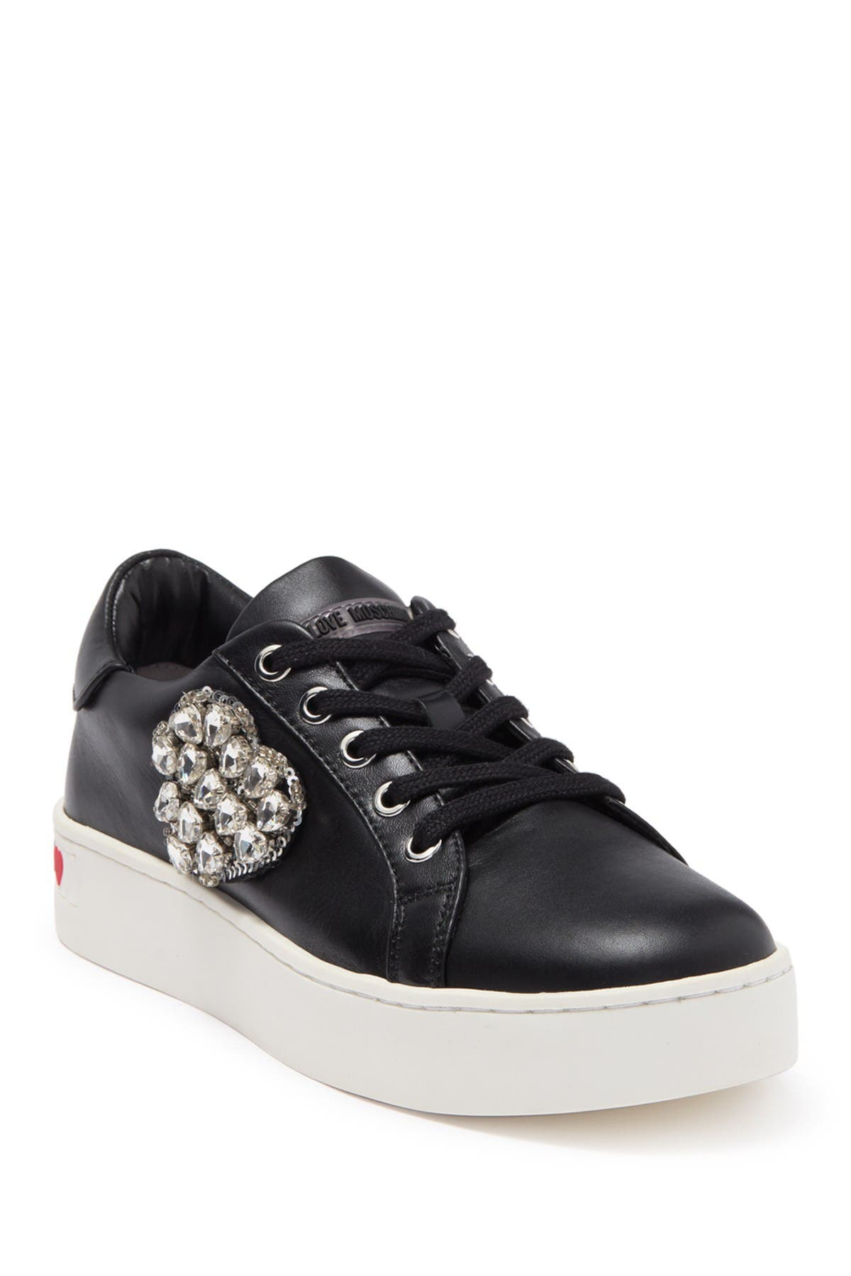 Image of LOVE Moschino Embellished Leather Sneaker