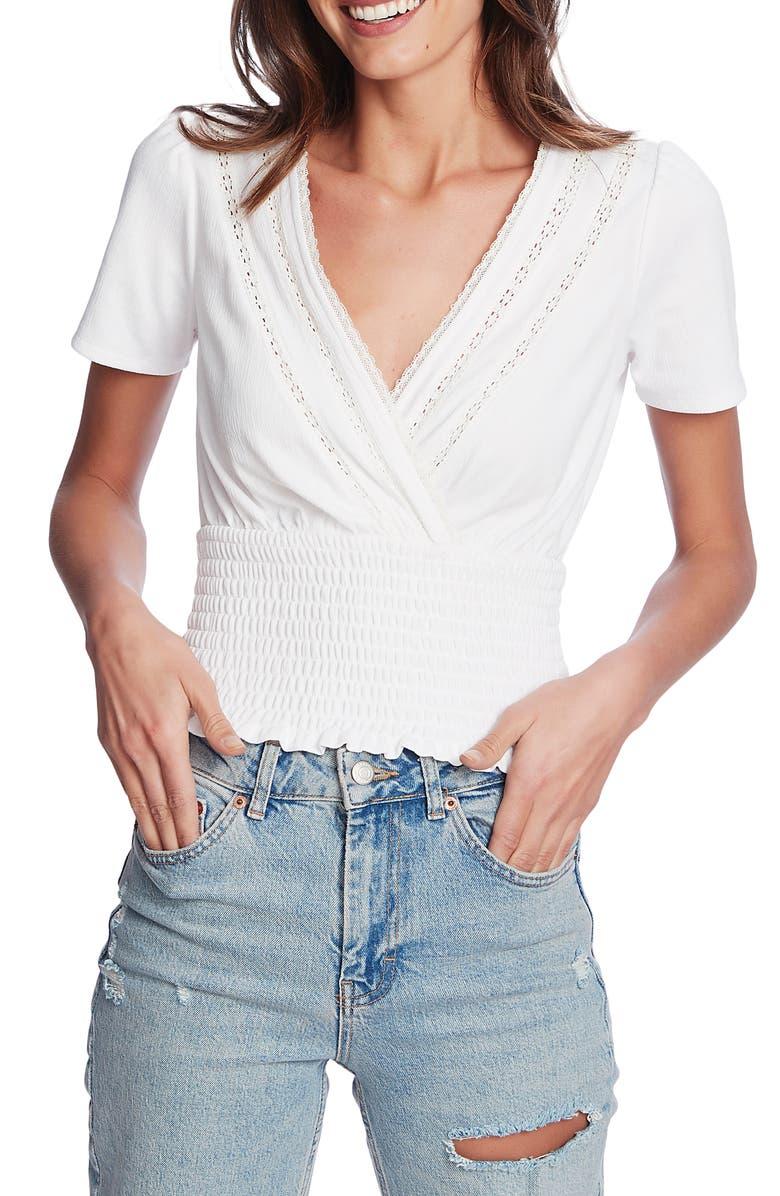 1.STATE Crinkle Texture Smocked Waist Short Sleeve Top, Main, color, SOFT ECRU