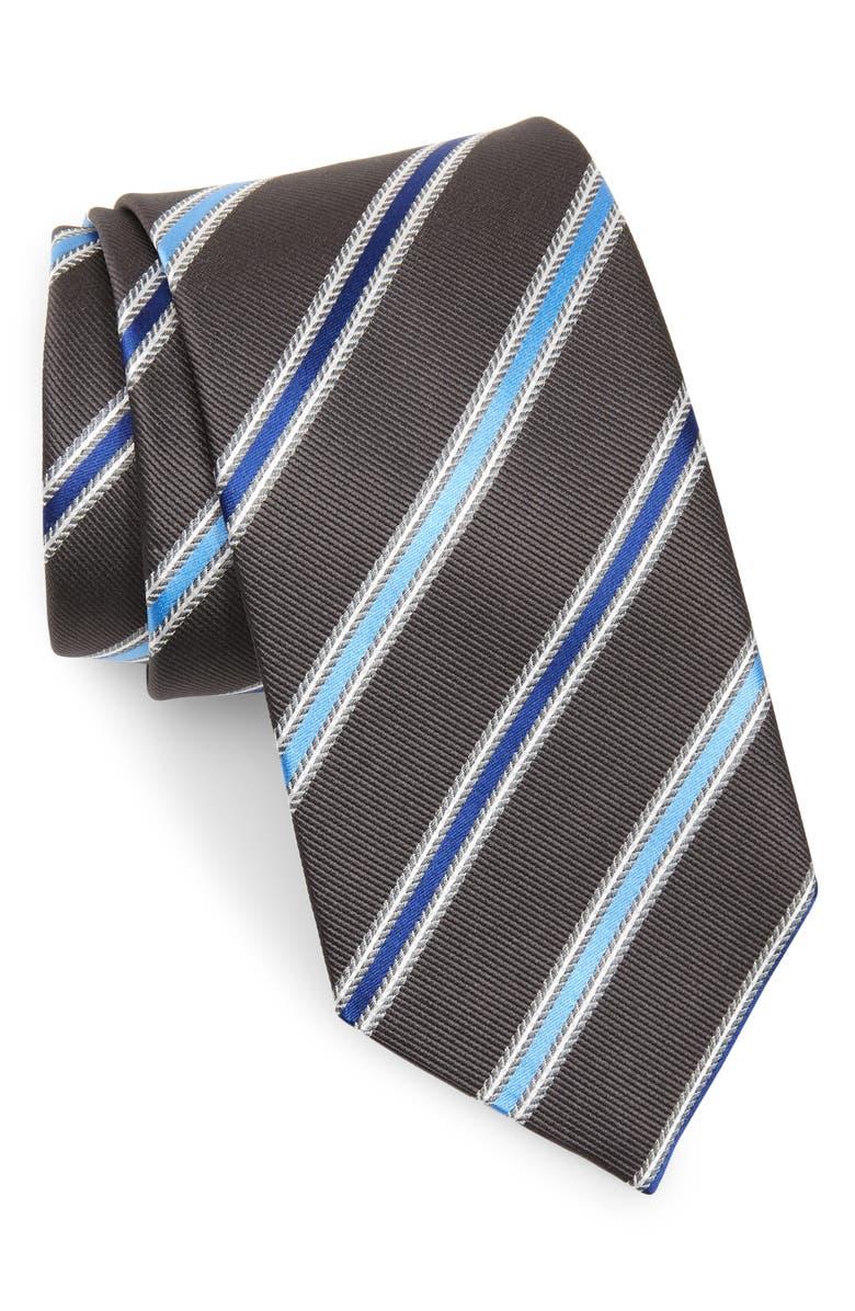 DAVID DONAHUE Stripe Silk Tie, Main, color, CHARCOAL