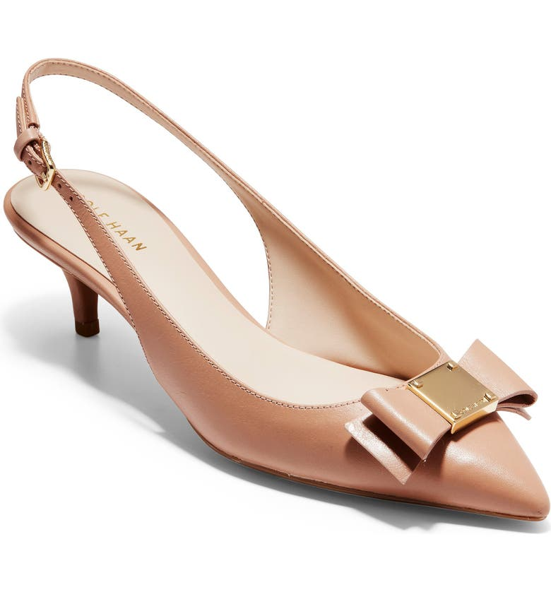 COLE HAAN Tali Bow Slingback Pump, Main, color, NUDE LEATHER