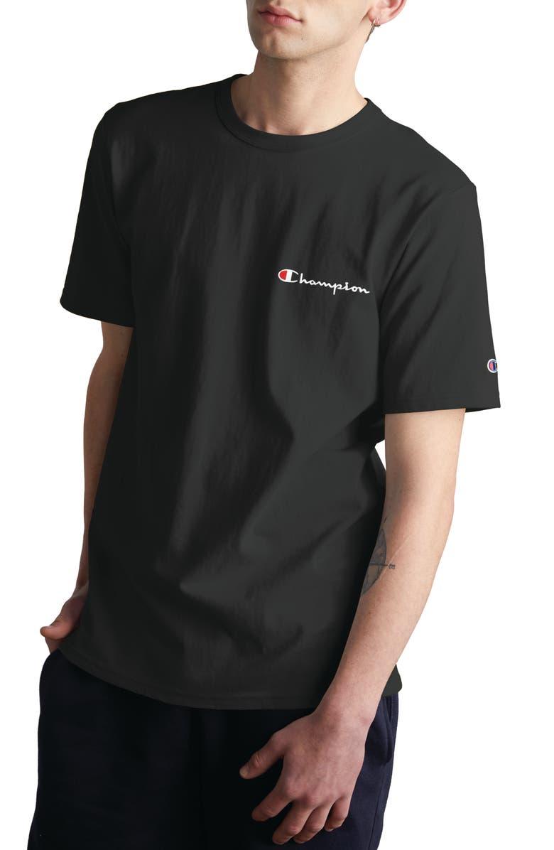 CHAMPION Logo Embroidered Crewneck T-Shirt, Main, color, BLACK